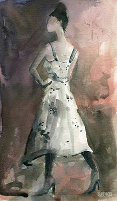 Grey Dress Painting - Woman In A White Dotted Dress Fashion Illustration Art Print by Beverly Brown Prints