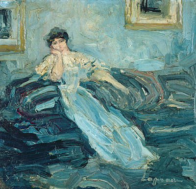 Blue Dress Photograph - Woman In An Interior, C.1909 Oil On Canvas by Pierre Laprade