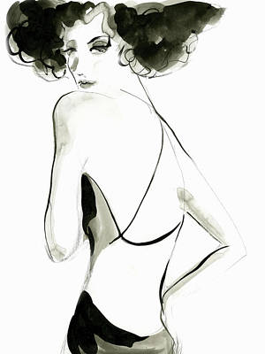 Digital Art - Woman In Backless Dress Looking Over by Eva Byrne