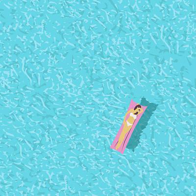 Digital Art - Woman In Bikini, Swimming Pool Top by Jozefmicic