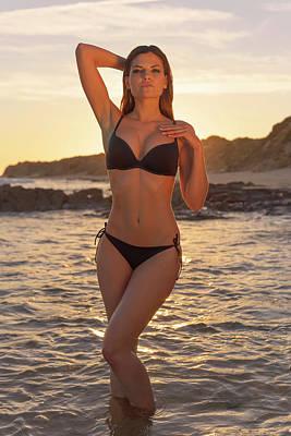 Woman In Black Bikini Standing Art Print by Ben Welsh