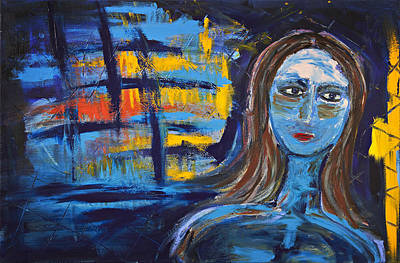 Woman In Blue Abstract Art Print by Maggis Art