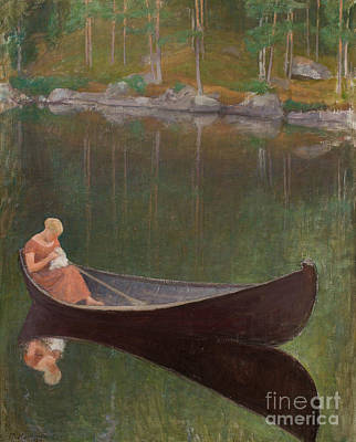 Lake Painting - Woman In Boat by Celestial Images