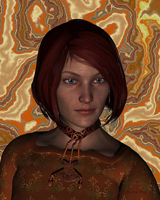 Digital Art - Woman In Brown Portrait by Judi Suni Hall
