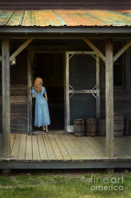 Woman In Cabin Doorway Art Print by Jill Battaglia