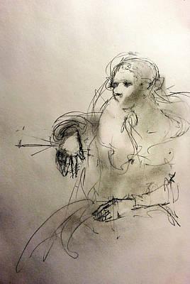 Woman In Fur Art Print