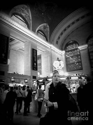Photograph - Woman In Grand Central - Black And White by Miriam Danar