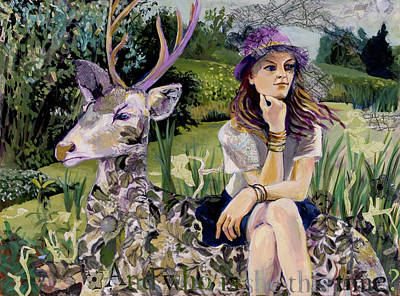 Print featuring the painting Woman In Hat Dreams With Stag by Tilly Strauss