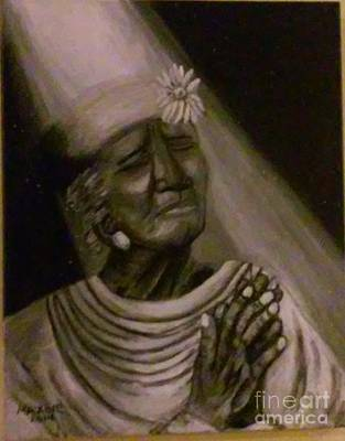 Sun Rays Painting - Woman In Holy Prayer by Maxine Young