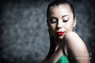 Dominant Women Photograph - Woman In Make Up With Hair Tied Back And Green Dress by Joe Fox
