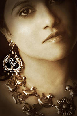 Woman In Mexican Silver Jewelry Art Print