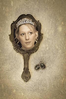 Woman In Mirror Art Print
