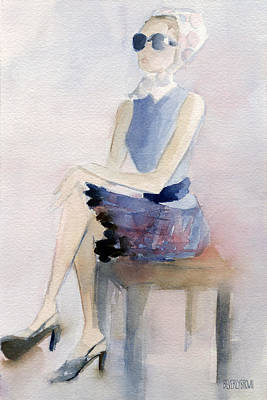 Contemporary Watercolor Painting - Woman In Plaid Skirt And Big Sunglasses Fashion Illustration Art Print by Beverly Brown