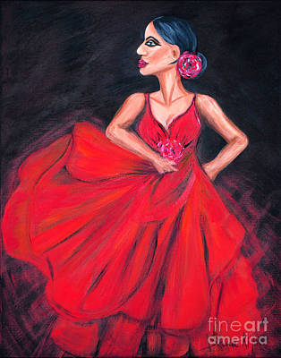 Painting -  Flamenco. Original Acrylic Painting by Oksana Semenchenko
