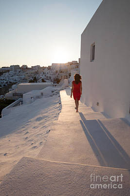 Greece Photograph - Woman In Red In Oia - Santorini - Greece by Matteo Colombo