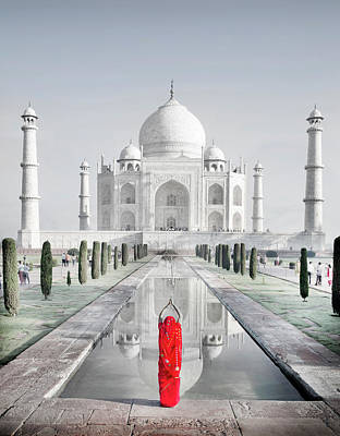 India Photograph - Woman In Red Sari Praying At Taj Mahal by Grant Faint