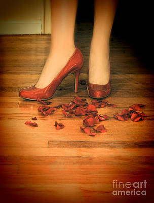 Photograph - Woman In Red Shoes Standing On Rose Petals by Jill Battaglia