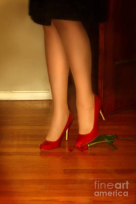 Stiletto Heel Photograph - Woman In Red Shoes Stepping On A Rose by Jill Battaglia
