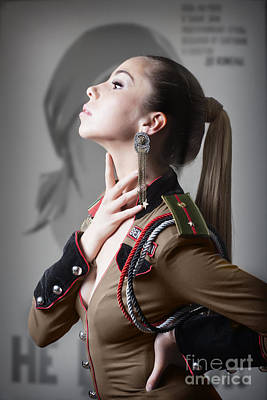 Roleplaying Photograph - Woman In Russian Fetish Uniform Caressing Her Throat With Her Hand by Joe Fox