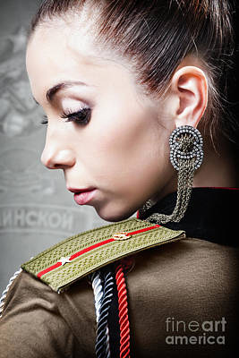Roleplaying Photograph - Woman In Russian Fetish Uniform Looking Over Her Shoulder by Joe Fox