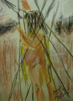 Pastel - Woman In Sticks by David Trotter
