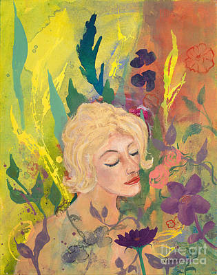 Painting - Woman In The Garden by Robin Maria Pedrero