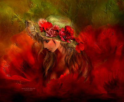 Mixed Media - Woman In The Poppy Hat by Carol Cavalaris