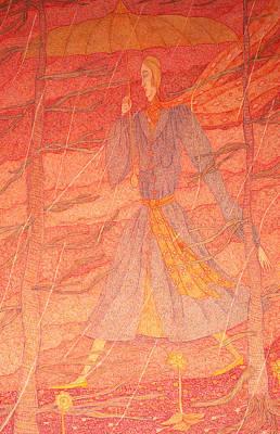 Woman In The Rain Art Print by Eleanor Arbeit