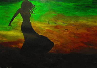 Woman In The Wind Art Print by Haleema Nuredeen