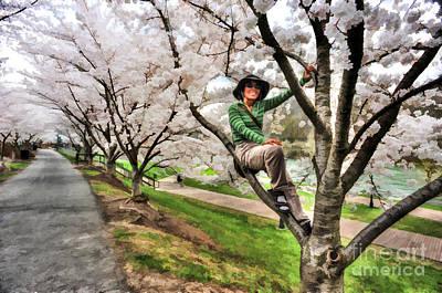 Woman In Tree Art Print by Dan Friend