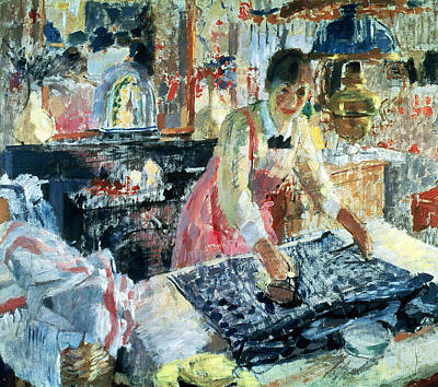 Woman Ironing Print by Rik Wouters
