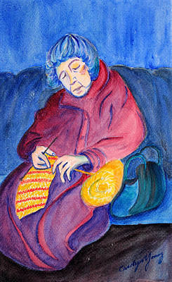 Hand On Head Painting - Woman Knitting On The Subway by Asha Carolyn Young