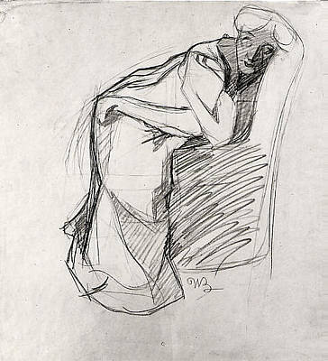 Boccioni Drawing - Woman Leaning On A Chair The Artists by Umberto Boccioni