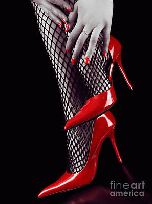 Woman Legs In Sexy Red High Heels And Stockings Art Print by Oleksiy Maksymenko