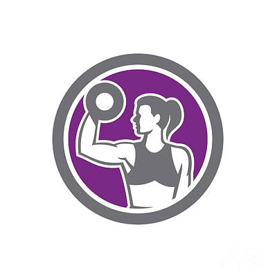Physical Fitness Digital Art - Woman Lifting Dumbbell Weight Physical Fitness Retro by Aloysius Patrimonio