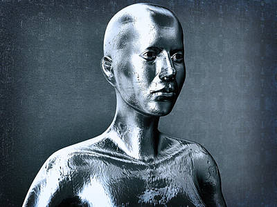 Woman Liquid Metal Android In Front Of The Wall Art Print