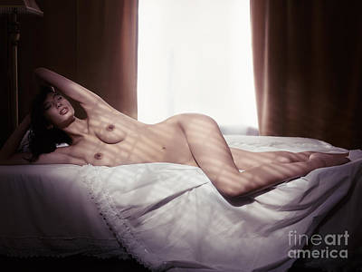 Art Nude Photograph - Woman Lying Naked On A Bed By The Window by Oleksiy Maksymenko