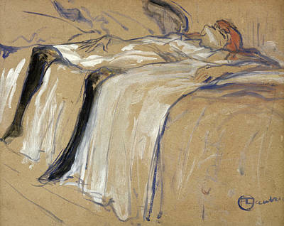 Prostitutes Drawing - Woman Lying On Her Back by Henri de Toulouse Lautrec