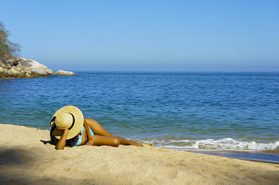 Pleasure Photograph - Woman Lying On The Beach by Aged Pixel