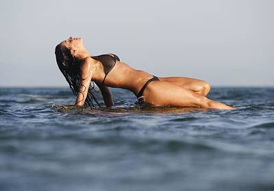Body Surfing Photograph - Woman Lying On The Water by Ben Welsh
