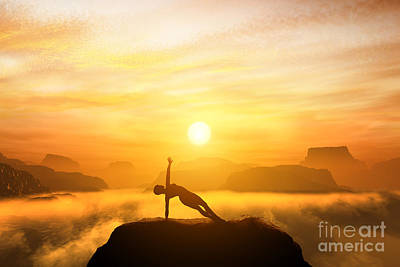 Woman Meditating In Mountains Art Print