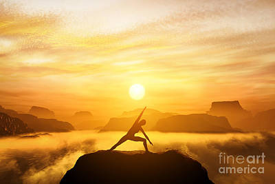Rock Photograph - Woman Meditating In Tree Yoga Position  by Michal Bednarek