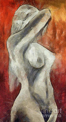Artistic Nude Mixed Media - Woman by Michal Boubin