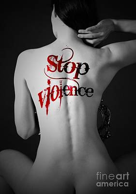 Predicament Photograph - Woman Move Tattoo Containing Stop Violent by Paul Fearn