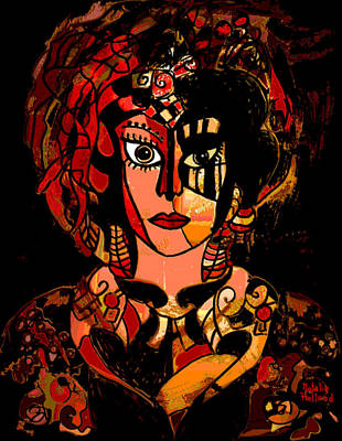 Fabric Mixed Media - Woman Of Mystery by Natalie Holland