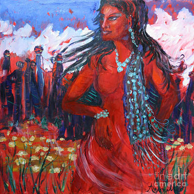 Painting - Woman Of The Whispering Wind by Avonelle Kelsey