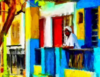 Woman On A Balcony Art Print