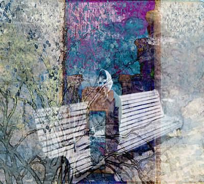Art Print featuring the digital art Woman On A Bench by Cathy Anderson