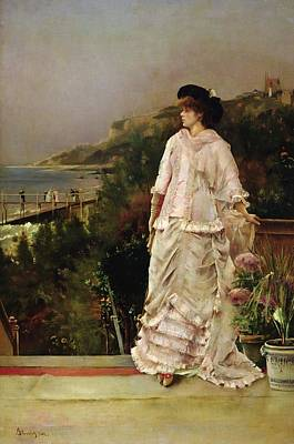 Admiring The View Painting - Woman On A Terrace by Alfred Emile Stevens