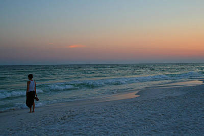 Photograph - Woman On Beach At Dusk by Karen Adams